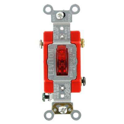 20 Amp Industrial Grade Heavy Duty Single-Pole Pilot Light Toggle Switch, Red