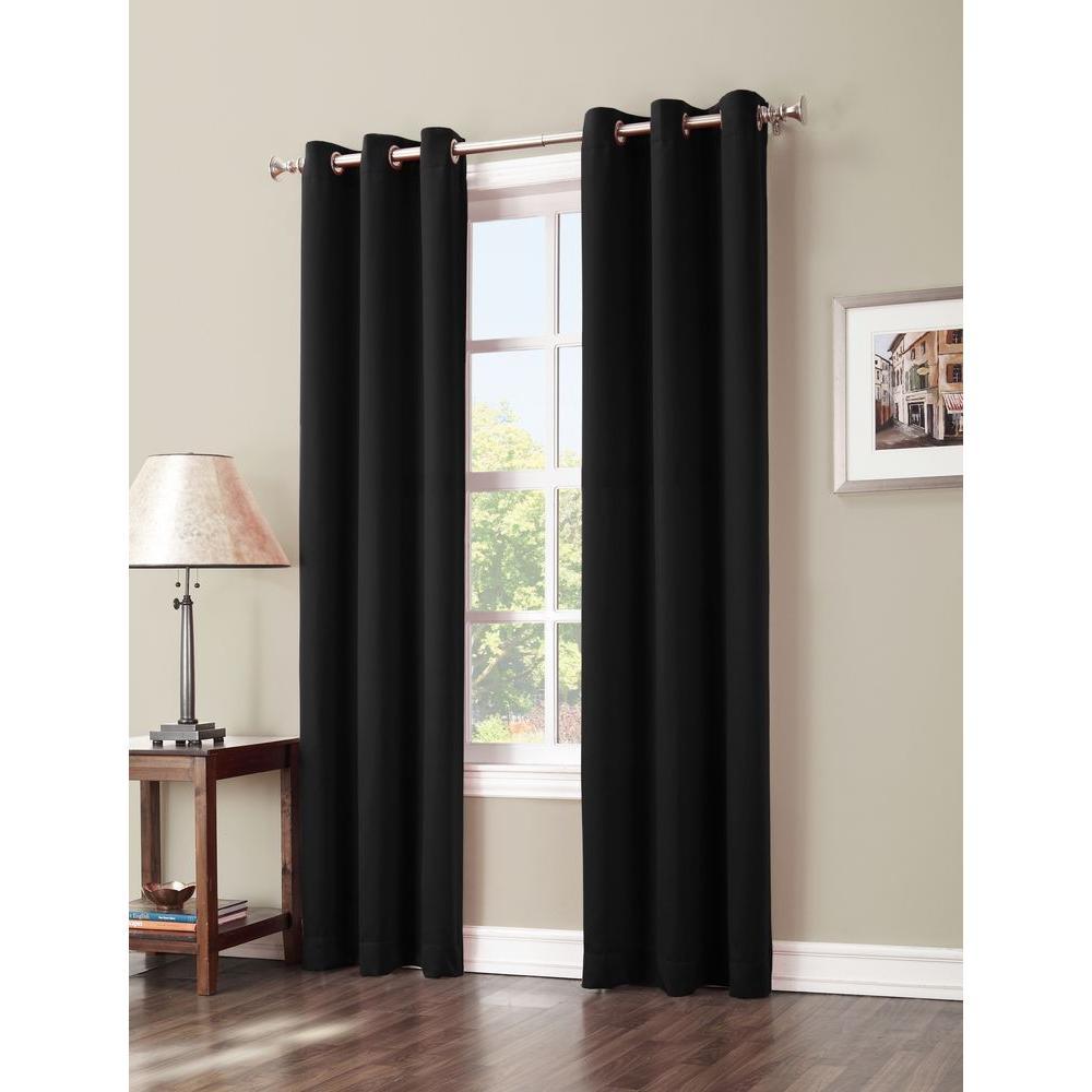 Blackout Gavin 63 in. L Blackout Curtain Panel in Black
