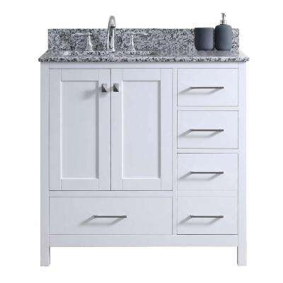 Caroline Madison 36 in. W Bath Vanity in White with Granite Vanity Top in Arctic White Granite with Square Basin