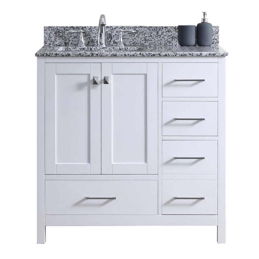 Caroline Madison 36 in. W x 22 in. D Vanity in White with Granite Vanity Top in Arctic White with White Square Basin