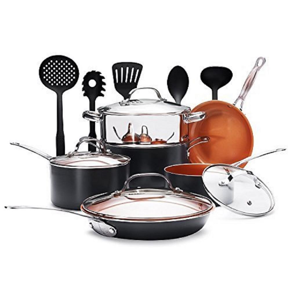 Gotham Steel 15-Piece Non-Stick Ti-Ceramic Cookware Set with Lids and Spatulas