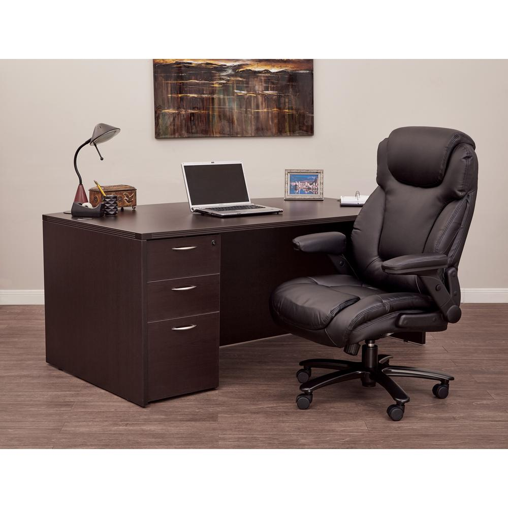 White Metal Desk Wood Top Locker 527