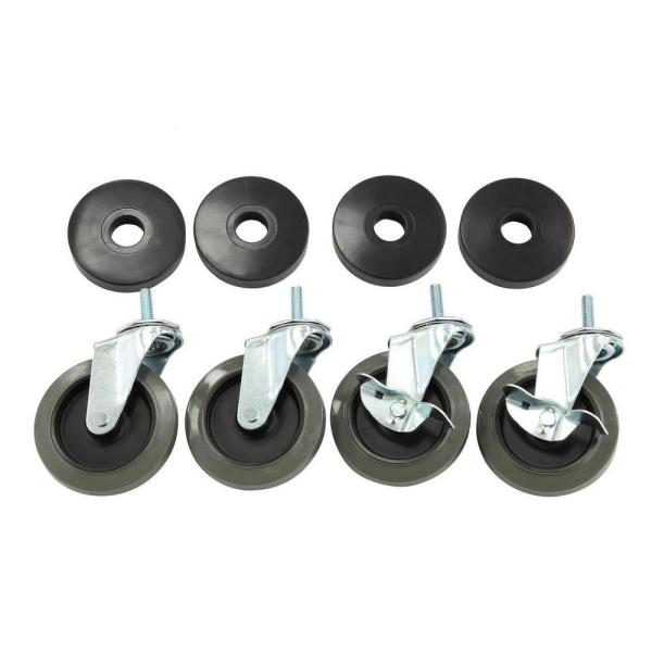 Hdx 4 In Industrial Casters With Bumper 4 Pack 30260ps Yow The Home Depot
