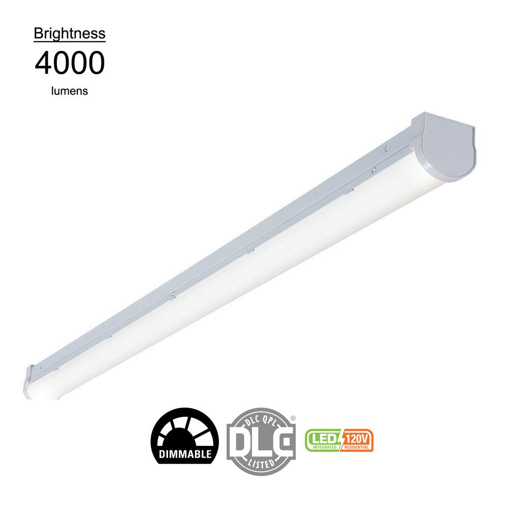Metalux 4 ft linear white integrated led ceiling strip light with 4474 lumens 4000k dimmable