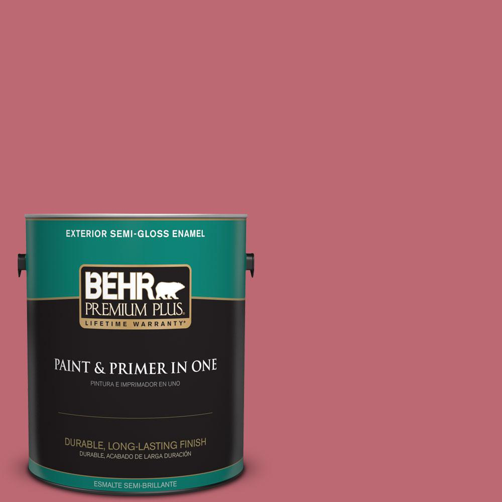BEHR Premium Plus 1-gal. #M140-5 Cherry Fizz Semi-Gloss Enamel Exterior Paint