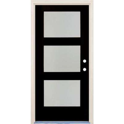 36in.x80in.Elite Inkwell Etch Glass Contemporary LeftHand 3Lite Satin Painted Fiberglass Prehung FrontDoor w/ Brickmould