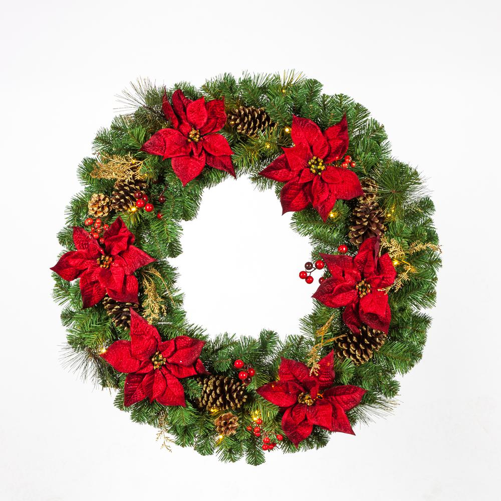 36 in. Pre-Lit LED Artificial Christmas Wreath with Burgundy Poinsettias