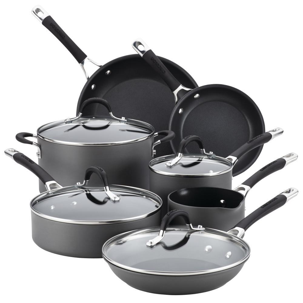 Momentum Hard-Anodized Nonstick 11-Piece Cookware Set, Gray