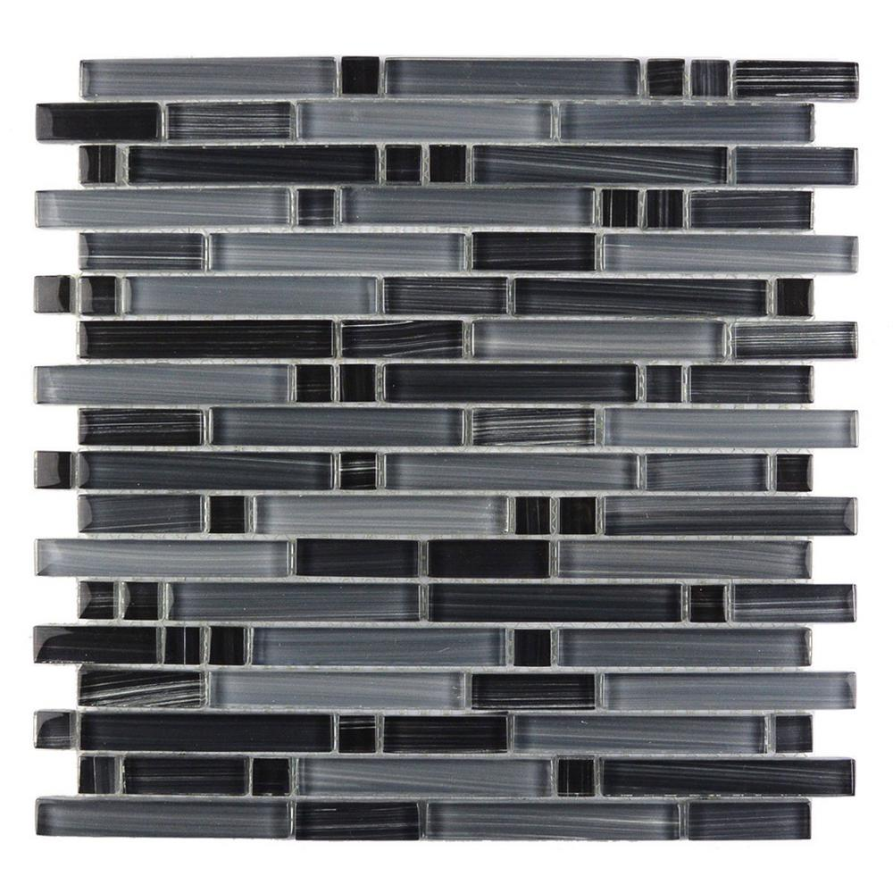 Gray Mosaic 12 in. x 12 in. Glossy Glass Mesh Mounted