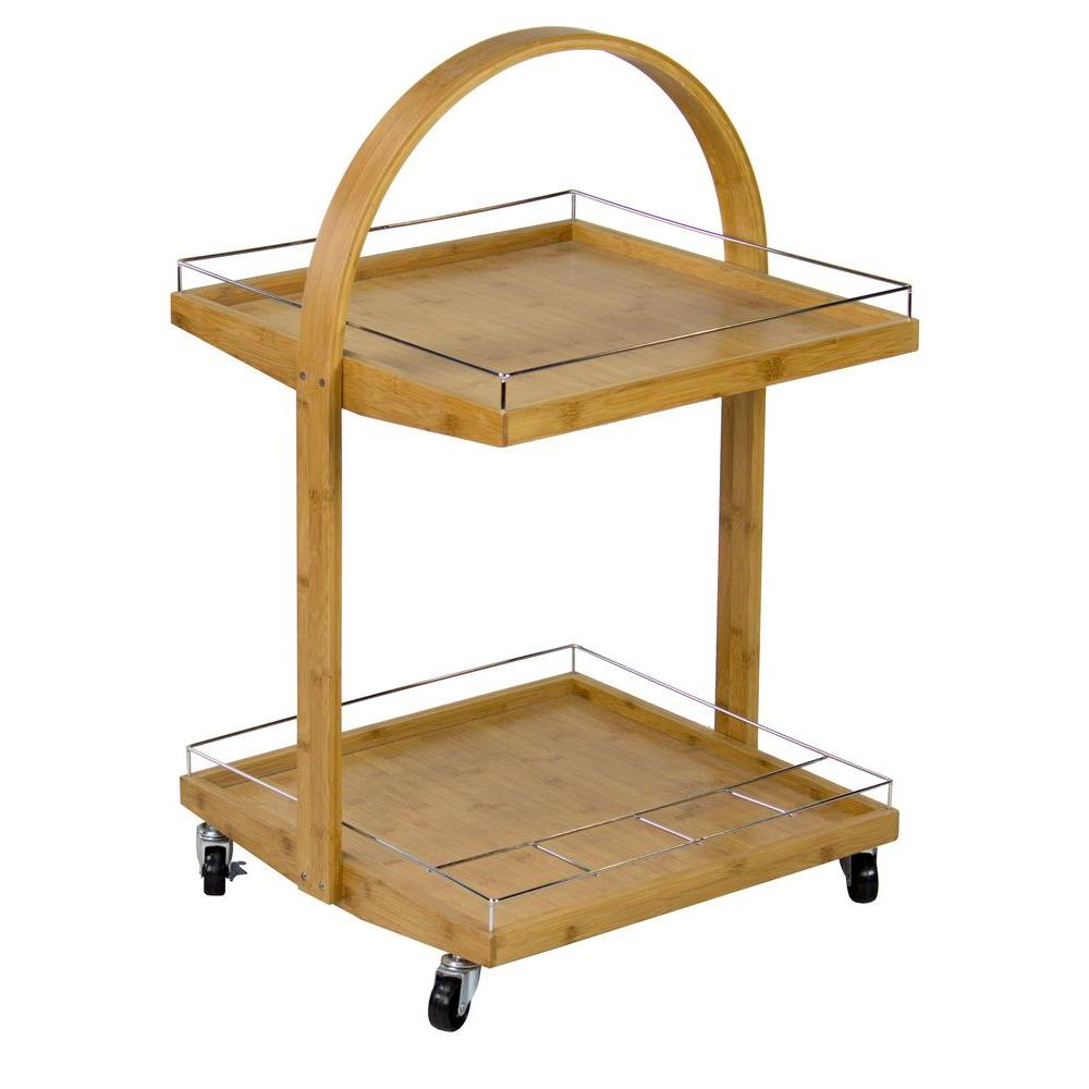 Bamboo (Green) Serving Cart With Wine Rack