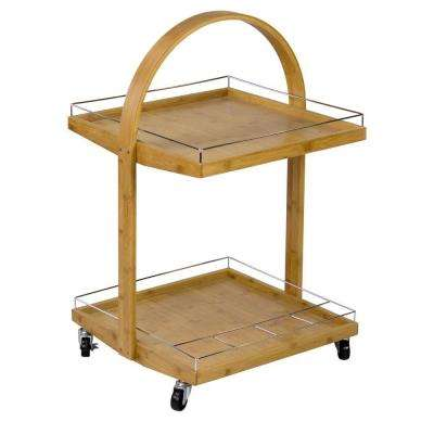 Bamboo Serving Cart With Wine Rack