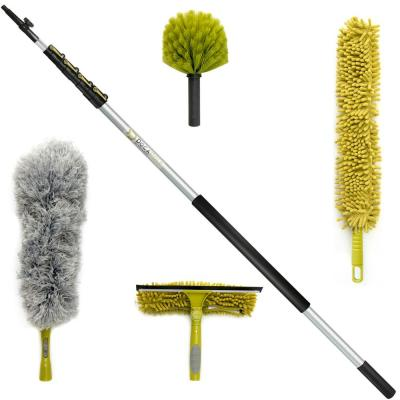 High Reach Cleaning Kit with 24 ft. Telescopic Extension Pole, Window Squeegee Cobweb, Microfiber Feather & Fan Dusters