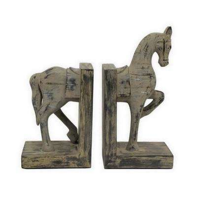 11 in. Decorative Gray Resin Horse Bookends