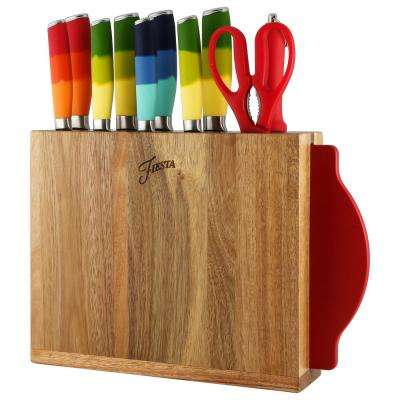 12-Piece Mixed Multicolor Cutlery Set with Knife Block