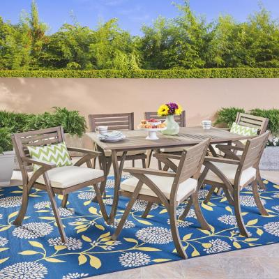 Hermosa Gray 7-Piece Wood Outdoor Dining Set with Cream Cushions