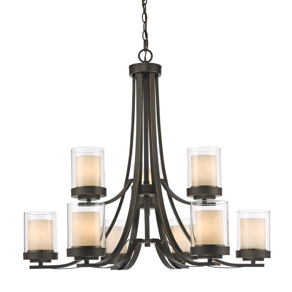 Filament Design Wesson 9-Light Dark Bronze Modern Rustic Chandelier with Clear Outside, Matte Opal Inside Glass Shades
