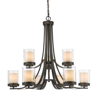 Wesson 9-Light Dark Bronze Modern Rustic Chandelier with Clear Outside, Matte Opal Inside Glass Shades