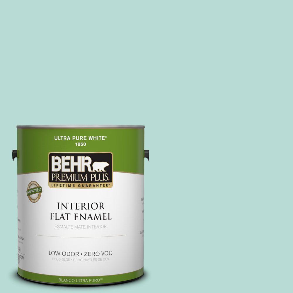 BEHR Premium Plus 1-gal. #490C-3 Balmy Seas Zero VOC Flat Enamel Interior Paint-DISCONTINUED