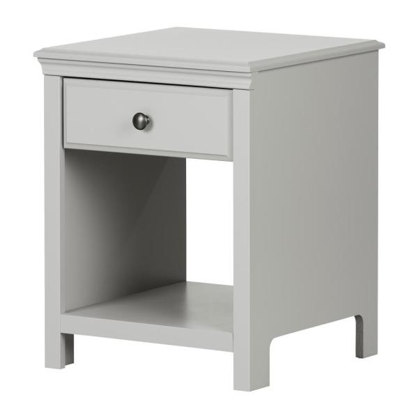 South Shore Cotton Candy 1-Drawer Soft Gray Nightstand 12139
