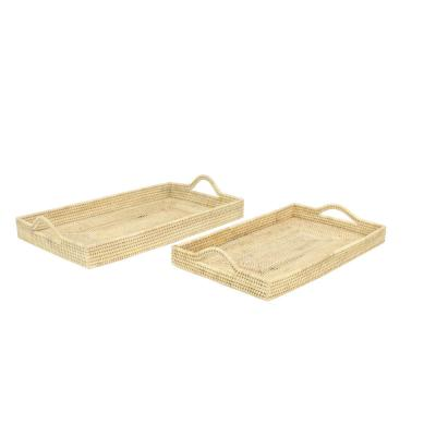 Rectangular Natural Brown Rattan Decorative Trays (Set of 2)