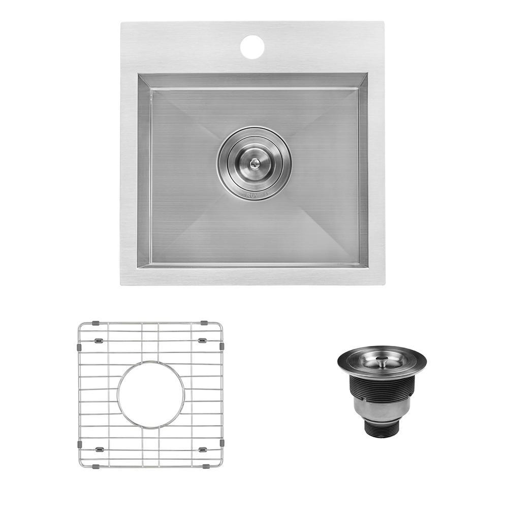 15 in. Drop-in Single Bowl 16-Gauge Stainless Steel Square Topmount Bar Prep Kitchen Sink