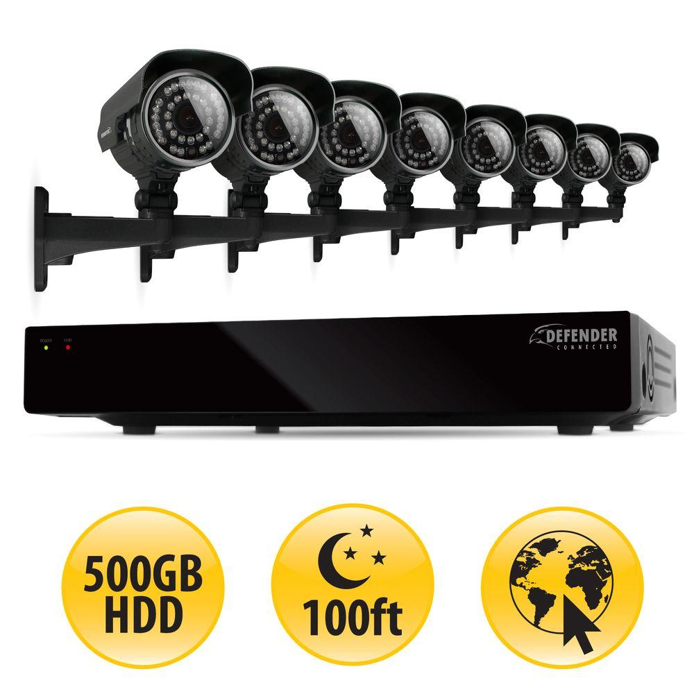 Defender 8-Channel 500GB Hard Drive Surveillance System with (8) 600 TVL Cameras