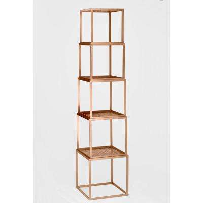 Rose Gold Stackable Etagere Open Bookcase