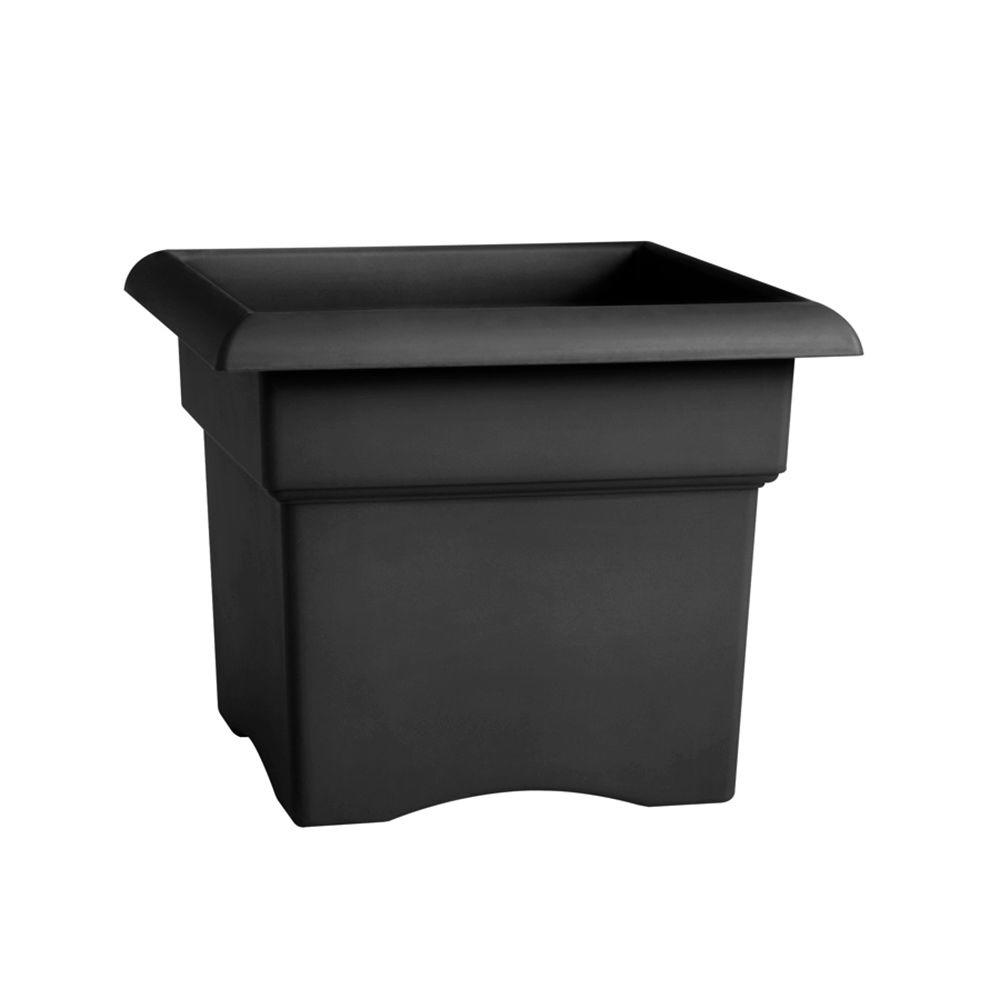 Veranda 14 in. by 11 in. Tall Black Resin Planter