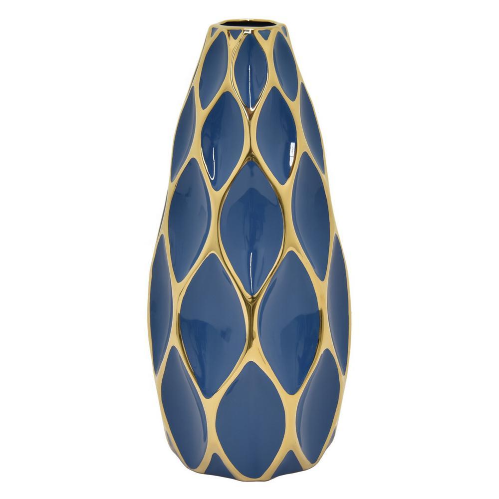15.5 in. Blue and Gold Porcelain Vase