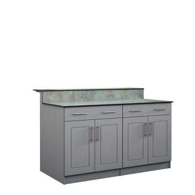 Palm Beach 59.5 in. Outdoor Bar Cabinets with Countertop 4-Door and 2-Drawer in Gray
