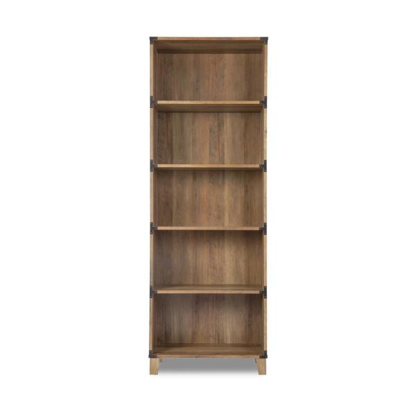 "71/"" 5 Shelf Bookcase Adjustable Open Shelves CloseBack Storage Wood grain Walnut"