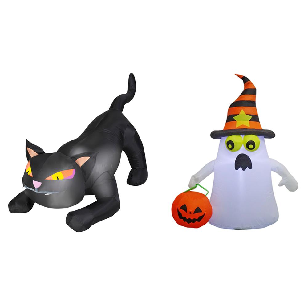 3.5 ft. Pre-lit Inflatable Combo Set Black Cat-Frighten Ghost