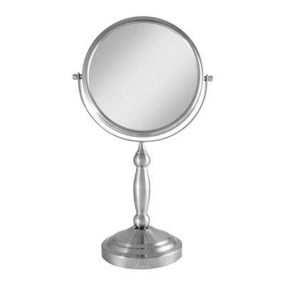 16 in. L x 9 in. W Dual-Sided Swivel Vanity Makeup Mirror in Satin Nickel