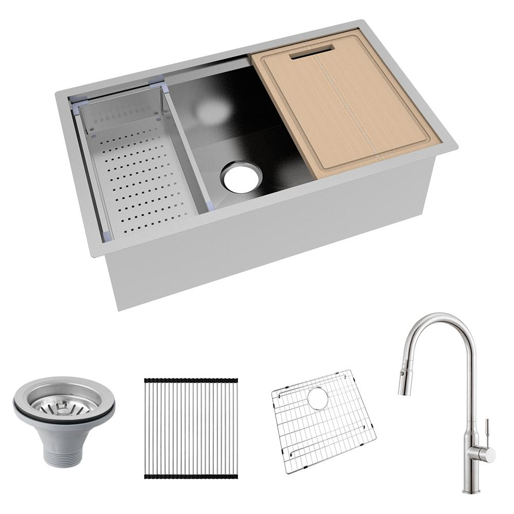 Glacier Bay All-in-One Undermount Stainless Steel 32 in. Single Bowl Kitchen Workstation Sink with Faucet and Accessories Kit