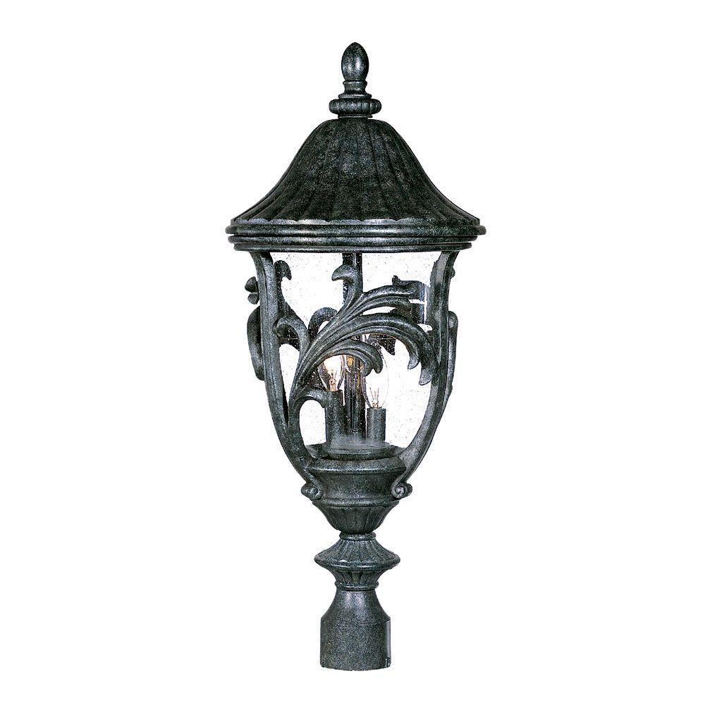 Acclaim Lighting Boca Raton Collection Post-Mount 3-Light Outdoor Stone Light Fixture