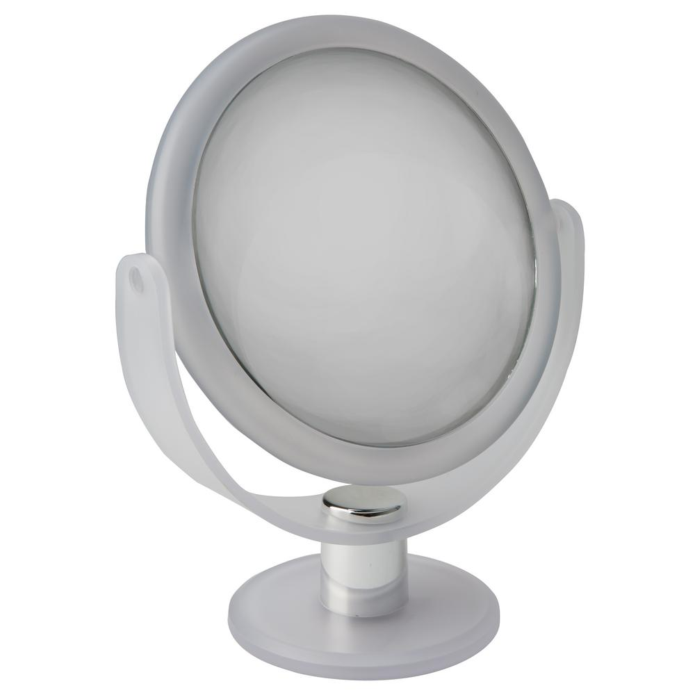 Bath Bliss Dual Sided 10x Magnification 7 In Rubberized Vanity Mirror Frost