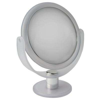 Dual Sided 10X Magnification 7 in. Rubberized Vanity Mirror in Frost