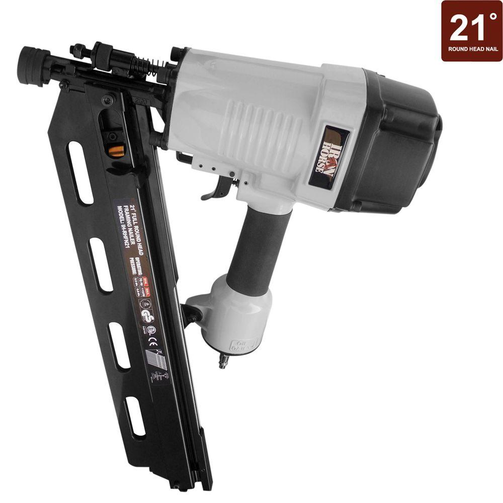 Iron Horse 3 1 2 In 21 Degree Full Round Head Framing Nailer With Case Ih Rhfn21 The Home Depot