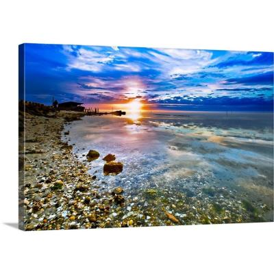 "30 in. x 20 in. ""Many Shells On Beach Sunrise Transparent Sea"" by  Eszra Tanner Canvas Wall Art"