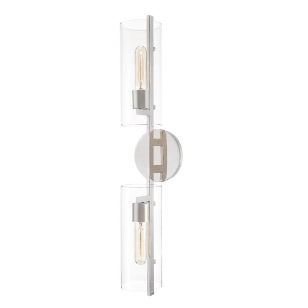Ariel 2-Light Polished Nickel Wall Sconce with Clear Shade