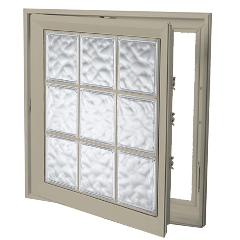 29 in. x 29 in. Left-Hand Acrylic Block Casement Vinyl Window with Tan Interior and Exterior