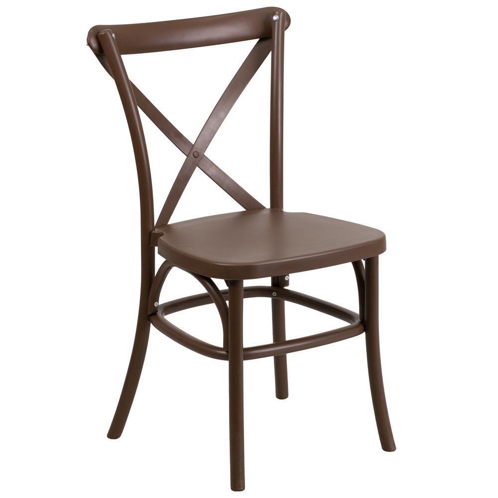 HERCULES Series Chocolate Resin Indoor-Outdoor Cross Back Chair with Steel Inner Leg