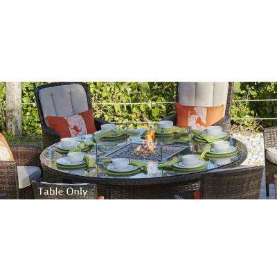 Propane Round Brown Wicker Gas Fire Pit Table with Tempered Glass - Fire Pit Kits - Hardscapes - The Home Depot