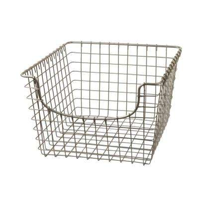 Scoop 12.125 in. W x 13 in. D x 8 in. H Medium Basket in Satin Nickel Powder Coat