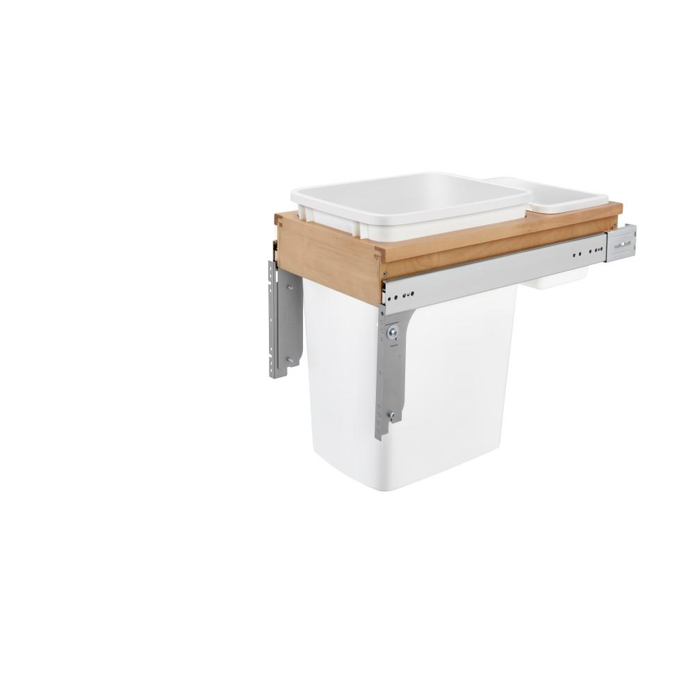 Rev-A-Shelf 17.875 in. H x 11.5 in. W x 24.5 in. D Single Pull-Out Top Mount Wood and White Waste Container for 1-3/Face Frame