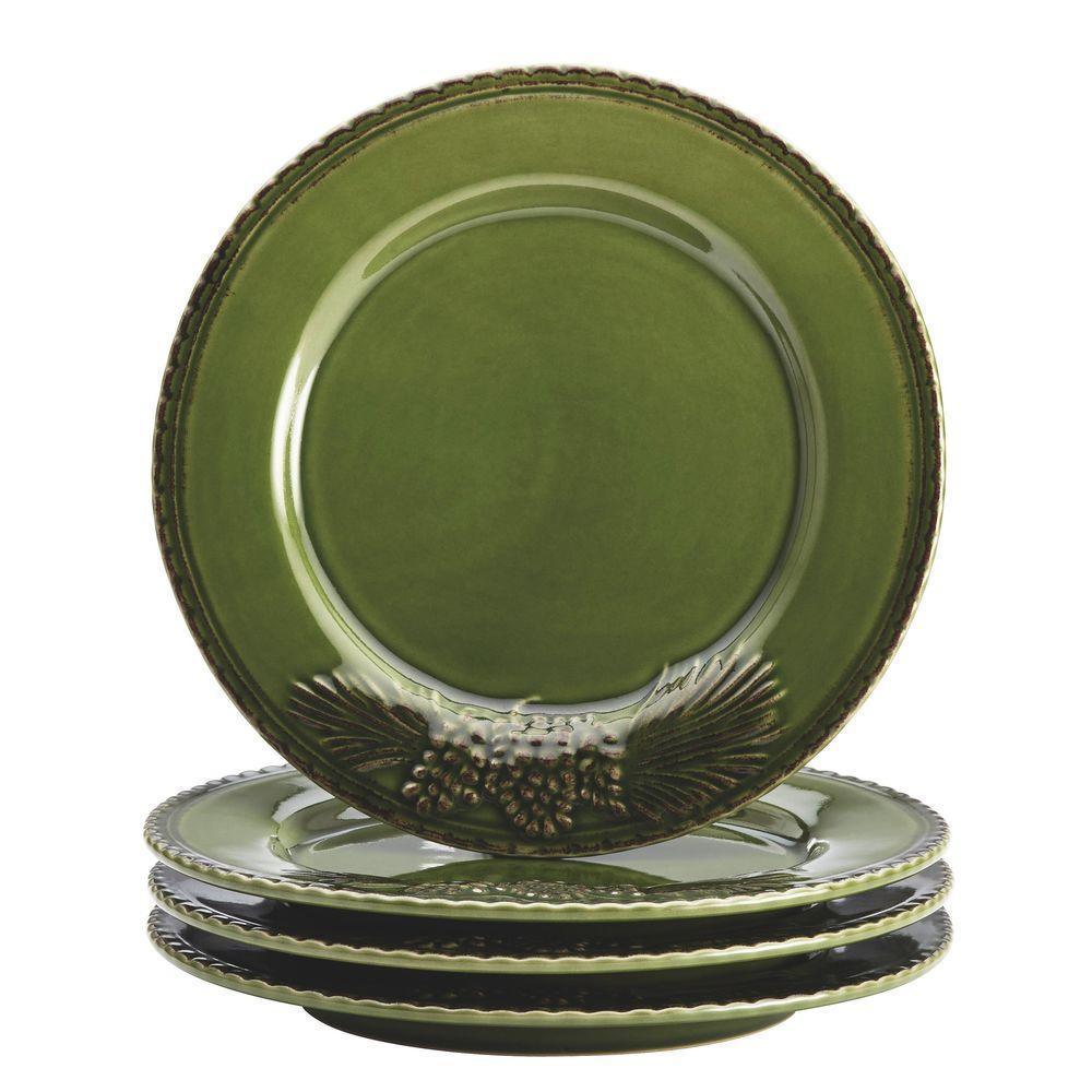 Dinnerware Sierra Pine 4-Piece Stoneware Salad Plate Set in Forest