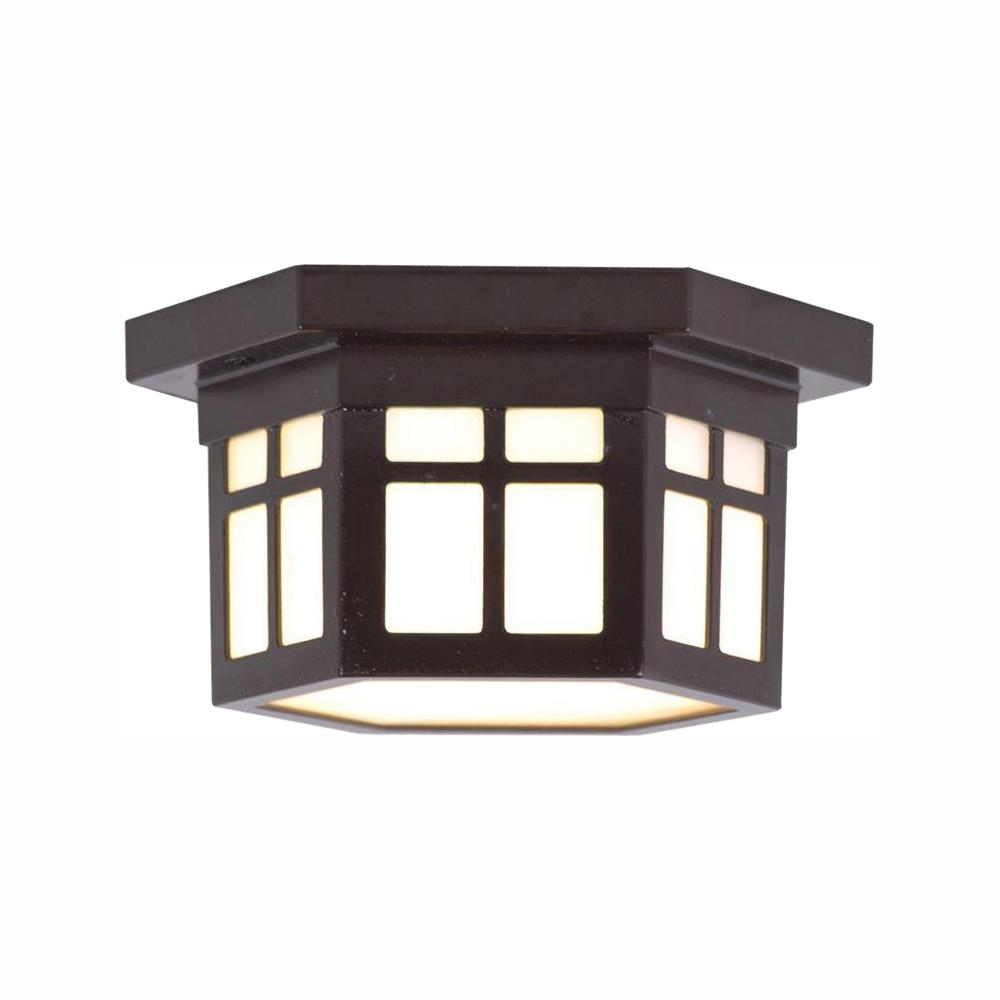HomeDecoratorsCollection Home Decorators Collection LED Outdoor Hanging Antique Bronze Flush Mount