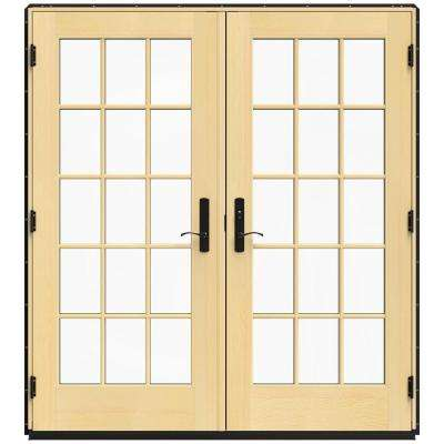 72 in. x 80 in. W-4500 Black Clad Wood Left-Hand 15 Lite French Patio Door w/Lacquered Interior