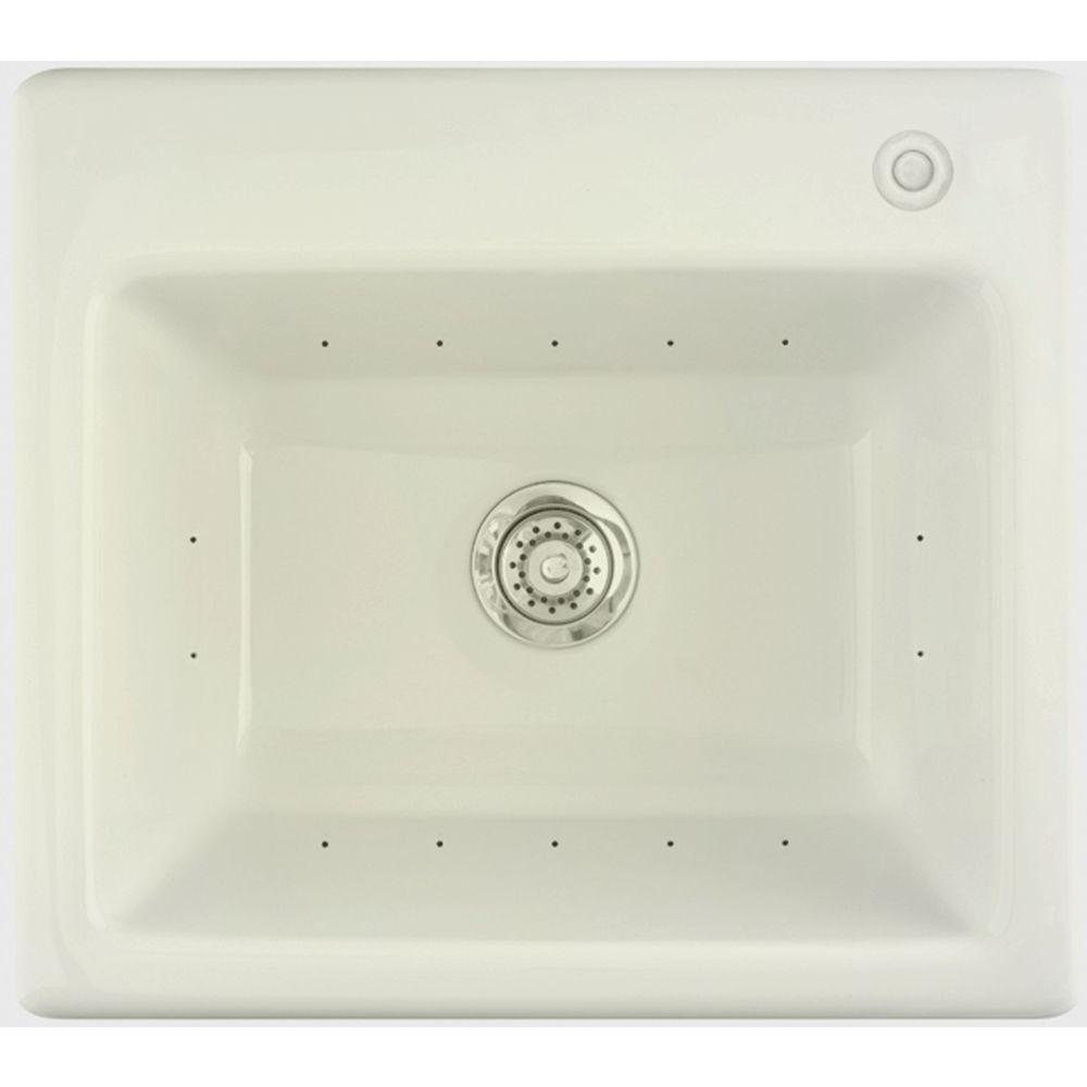 Aquatic Delicair II 12 in. x 25 in. Acrylic Drop-In Laundry Sink in Biscuit