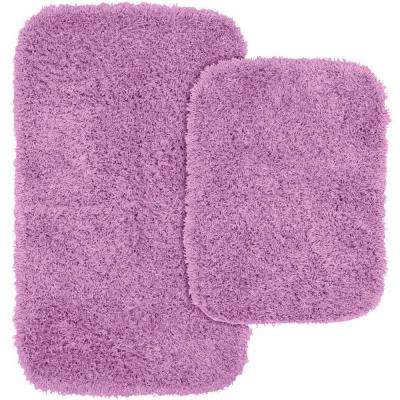 Jazz Purple 21 in. x 34 in. Washable Bathroom 2-Piece Rug Set